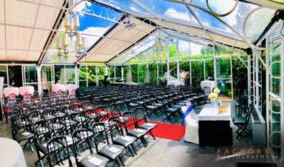 orangerie cérémonie @ le grand salon te Beersel - traiteur aromate - huwelijk mariage feestzaal salle de mariage, witte orangerie - veel licht en veel groen